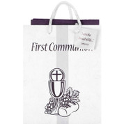 Bread Of Life First Communion Gift Bag measures 8 inches by 4 inches by 9 inches includes Gift Tag & Tissue DIGB466