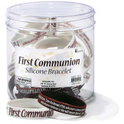 My First Communion Bracelet | Matthew 35:6 | Silicone | Maroon & White