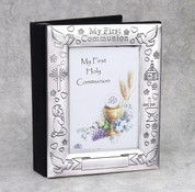 First Communion Photo Frame Brushed Satin Silver Plated DV13128