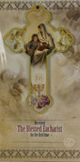 Blessed Eucharist wood Cross and Jesus  Boy  First on Communion Card measuring 5 and 1 half by 3 and 1 half inches RI462010FCB