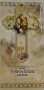 Blessed Eucharist Cross Pictures Jesus & Girl On Wood Cross First Communion Remembrance Carded measures 5 and 1 half inches by 3 and 1 half inches RI462010FCG
