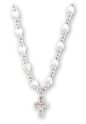 Rhinestone Cross and heart-shaped Faux White Pearl Necklace Beads Cross measures 16 inches HI1728606