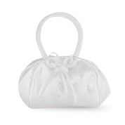 Satin Brocade First Communion Purse White with Zipper Closure bows and Snap Release Allowing Extra Room measures 8 inches by 5 and 1 half inches HI1640