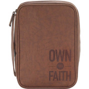 Own Your Faith Bible Case Brown Vinyl WITH Zipper Closure AND Carrying Handle measures 6 and 1 half by 9 and 1 eighth by 2 inches DIBCV172
