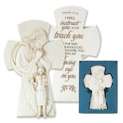 Christ & Teacher Cross with Psalm 32 verse 8 on back made of White Stone Look Resin 7 and 1 half inches DIFIGR115
