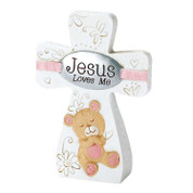 Jesus Loves Me Cross Pink Teddy Bear DITCR152