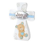 Jesus Loves Me Cross Blue Teddy Bear DITCR153