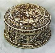 Holy Family Round Trinket Box Off White Antique Finish GOB75016