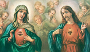 Sacred Heart of Jesus and Immaculate Heart of Mary Postcard EGARS90