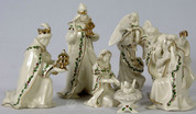 7 pc mini nativity lenox jesus mary joseph 3 kings and angel stand 4 inches tall ivory porcelain with gold and holly accents LEN806053