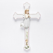 Communion Cross with Blessed Sacrament and Girl on White Bisque Porcelain measures 7 and 1 half inches RO45995