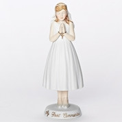 Praying Girl First Communion Figurine with Gold Accents made of Porcelain measures 6 and 1 quarter by 2 an 1 quarter inches RO459976