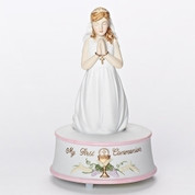 Praying Girl Musical Figurine Lord's Prayer Melody Porcelain measures 5 and 3 quarters by 3 and 3 quarters inches RO49374