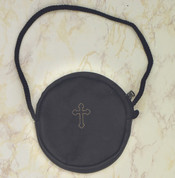 Burse For Pyx made of Black Leather with Zipper Closure measures 3 and 1 half by 3 quarter inches LUM104201007