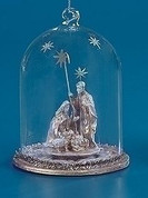 Holy Family Christmas Ornament Figurine Inside Dome made of Resin and Glass measures 5 inches by 3 and 3 quarters inches RO32651A
