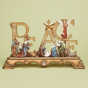 Peace Nativity & Word spelling out peace are beautifully Embellished measures 23 by 6 by 13 inches RO30455