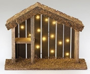 Nativity Stable with LED Lighting measures 10 by 13 inches made of Wood RO50558