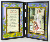 Stained Glass Guardian Angel with Children Prayer to Guardian Angel SIPR198GAE