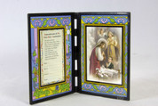 First Communion Plaque For a Boy Glass and Plastic Stained Glass Look measures 12 and 1 quarter inches by 7 inches SIPR198FCB1E