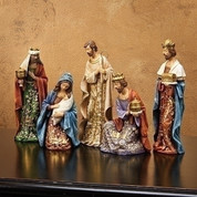 5 Piece Traditional Nativity  Set Includes Jesus in Marys Arms Joseph & 3 Kings Rich Jewel Tones Gold Accents Tallest piece measures 8 inches RO30849