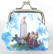 Our Lady Of Fatima Rosary Purse withMetal Clasp Closure and Rosary Beads measures 2 and 3quarters by 2 and 3 quarters inches made in Italy FAR1071M41
