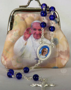 Rosary Pouch Pope Francis Blue Bead Rosary FAR1071P18