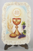 Blessed Sacrament First Communion Plaque MADe stone look resin with easel and wall mount measures 4 by six inches made in italy FAR2950K126
