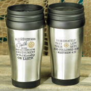 Man of Faith Travel Mug with Stainless Steel Exterior and Black Plastic Interior and Lid With Easy Slide Opening Matthew 4 20 and Inspirational Message 14 ounce 6 and 3 quarter inches tall AB56976T