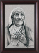 Saint Mother Teresa Framed Pencil Drawing by Lisa Brown NWCNW950D20