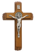 Saint Benedict Sick Call Crucifix Set Includes 2 Candles And Vial For Holy Water Walnut Stained Wood 12 inches MA7942659
