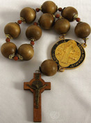 St Benedict Medal and Crucifix One Decade Rosary Large Wooden Beads RI26812