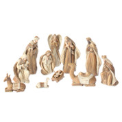 11 Piece Traditional Nativity set includes Jesus Mary Joseph 1 Shepherd 1 Angel 3 Kings 1 Lamb 1 Donkey & 1 Camel Carved Wood Look made of Resin Pieces Range in Size from 1 and 1 half to 9 inches tall RAZ3610217
