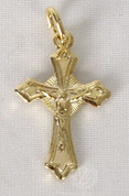 "Metal Crucifix Gold Toned Budded Ends 0.75"" RI160215"