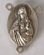 "Sacred Heart of Jesus Centerpiece Oxidized Metal 1"" HICP2843"