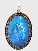 Holy Family Christmas Ornament Blue Oval Glass 4 by 4 and 3 quarters inches