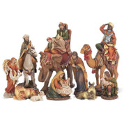 10 Piece Traditional Nativity Set Removable Jesus Mary Joseph 1 shepherd 1 angel 3 kings on animals  1 lamb 1 donkey 1 ox  tallest piece is 8and 3 quarter inches tall DICHNAT354