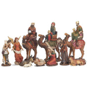 11 Pc Nativity Set Removable Jesus manger Mary Joseph shepherd lamb donkey ox and 3 Kings on Camels tallest piece is 9 and 1 half inches tall DICHNAT355
