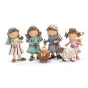 6 Piece Childrens Nativity Set Includes Jesus Mary Joseph 1 Shepherd 1 Angel and 1 Lamb measures 3 and 1 half inches DICHNAT958