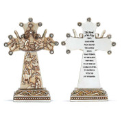 Crown Cross Nativity Scene With Wise Men on front Inscription Proclaiming Good News on back Resin silver measures 5 inches DICHTCR806