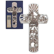 Christ Story Wall Cross Details Cut-Out Scenes Include Nativity Baptism Healing Anguish At Gesthemane Christ Carrying Cross and the Empty Tomb made of Resin With Silver Finish measures 12 inches DICHWCR127