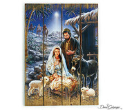 Christmas Story Wall Hanging holy family and wise men decoupage on Wood Slats measure 19 and 1 half by 14 inches