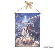 Christmas Story Wall Hanging Holy Family Canvas with approaching wise men measure 31 and 1 half by 25 and 3 quarter inches