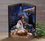 Nativity Scene Tabletop Display Wood with brushed gold accents measures 6 and 3 quarters inches tall BUR9728459