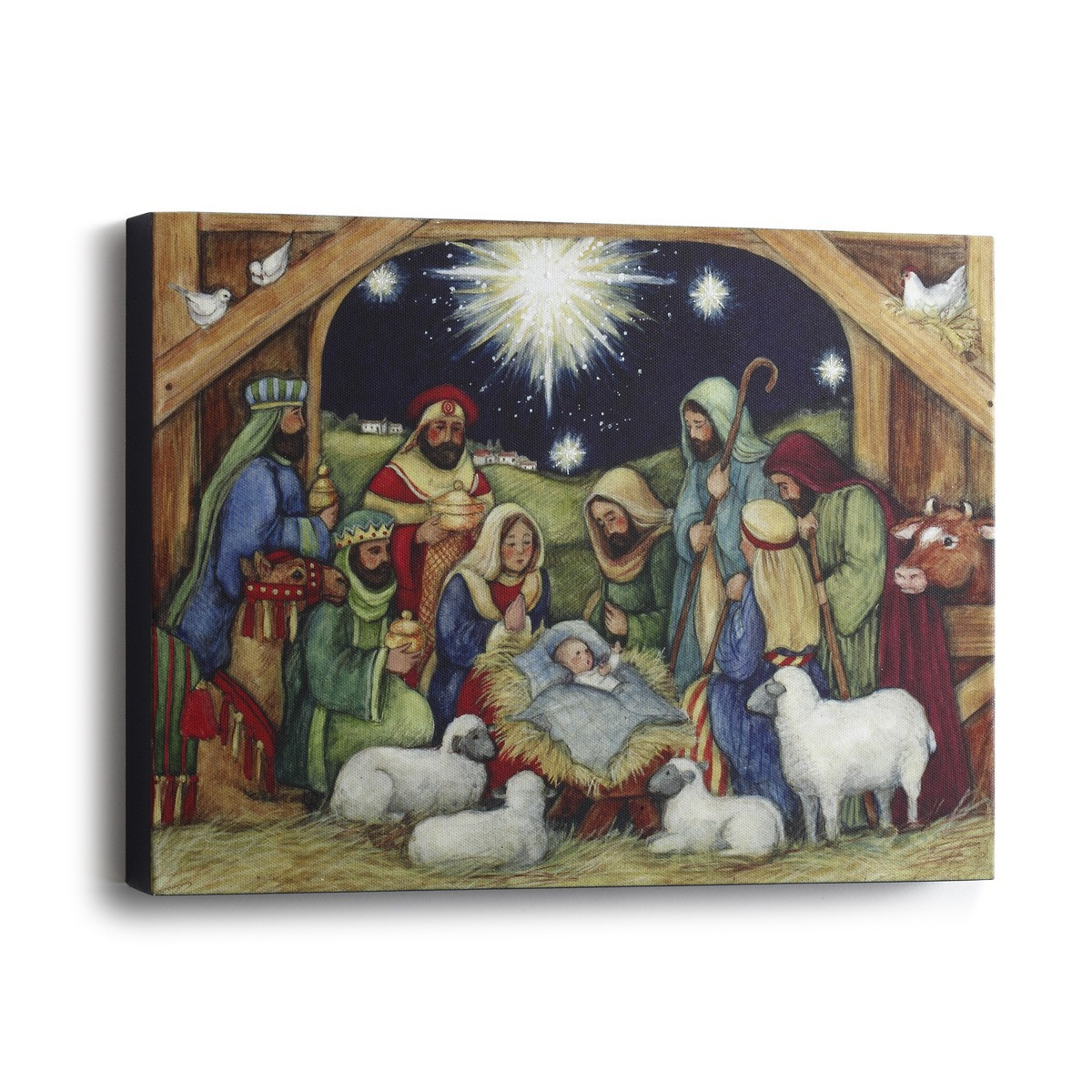 holy night print nativity scene canvas framed 12 x 9 dem60393 f c ziegler company. Black Bedroom Furniture Sets. Home Design Ideas