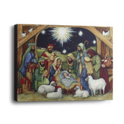 Holy Night Print Canvas shows Nativity Scene On Frame measures 12 inches by 9 inches DEM60393