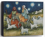 Holy Family Print of mary and joseph on journey to bethlehem Canvas On Frame measures 8 by 6 and 1 half inches DEM60394A