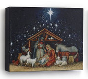 Nativity Scene shows Holy Family Surrounded By Animals in Stable Print on Canvas Mounted on Wood Frame Size 8 by 6 and 1 half inches DEM60394B