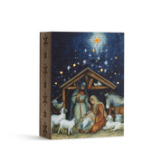 Holy Family Art Manger Scene Lighted Box measures 6 and 1 half by 9 inches DEM60395