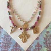 Catholic Symbols Necklace Beaded With Medals and Crucifix has raw pink sapphire, garnet and ruby accents measure 17 inches extends to 19 FOG21501