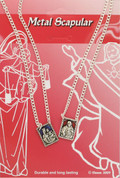 Our Lady of Mount Carmel Scapular two medals on a chain Red and Blue Enameled  DVSCENC